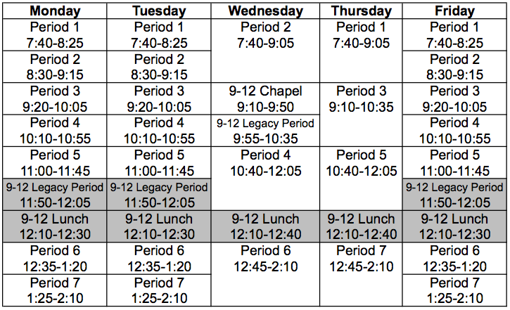 Grades 9-12 Weekly Schedule